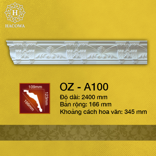 A100 – Phào Hoa Văn PU (2400x166mm)