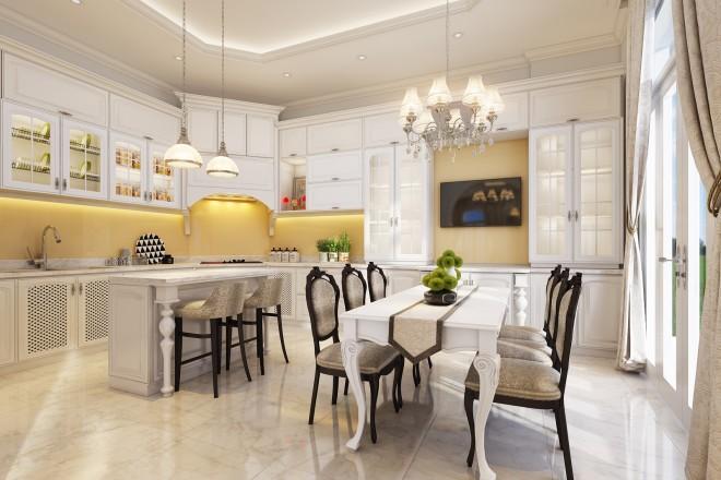 Kết quả hình ảnh cho căn bếp cổ điển với gam màu trắng